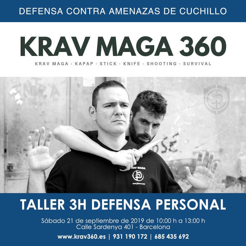 Defensa contra amenazas de cuchillo. Taller de 3 horas de defensa personal en Barcelona. Escuela Krav360